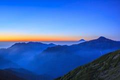 Mountain of dawn. Dawn of Mt. Fuji and Mt. Kitadake, Japan Stock Images