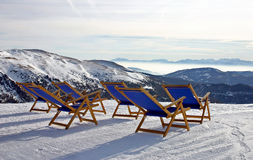 Mountain deckchairs stock photos