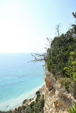 Mountain and deep blue sea view, greece island outdoors Royalty Free Stock Photography