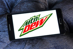 Mountain dew logo. Logo of drinks company mountain dew on samsung mobile phone stock images