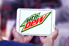 Mountain dew logo. Logo of drinks company mountain dew on samsung tablet royalty free stock photo