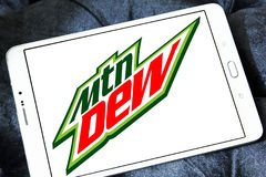 Mountain dew logo. Logo of drinks company mountain dew on samsung tablet stock photos