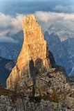 Mountain Dolomiti - Cinque Torri. Mountain lit by the setting sun Stock Image