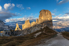 Mountain Dolomiti-Cinque Torri. Mountain lit by the setting sun Stock Photography