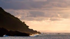 Mountain from Donosti. Santa Clara island, Igueldo mountain, and sea and sky Royalty Free Stock Photography