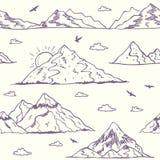 Mountain doodle seamless Stock Image