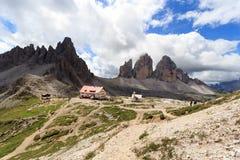 Mountain Drei Zinnen and Paternkofel and alpine hut Dreizinnenhutte in Sexten Dolomites, South Tyrol Stock Images