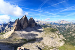 Mountain Drei Zinnen and Sexten Dolomites panorama in South Tyrol Stock Image