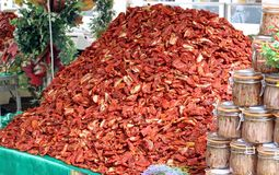Mountain of dried red ripe tomatoes for sale Royalty Free Stock Photography
