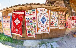 National handmade carpets in Zheravna in Bulgaria. Mountain eco-village Zheravna - Bulgarian national carpet center, rural tourism, national rural architecture stock photos