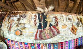 Wall in the National Hotel in Zheravna, Bulgaria. Mountain eco-village Zheravna - Bulgarian national carpet center, rural tourism, national rural architecture royalty free stock photos