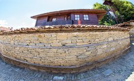 Stone architecture of the mountain village of Zheravna in Bulgaria. Mountain eco-village Zheravna - Bulgarian national carpet center, rural tourism, national royalty free stock images