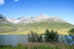 Mountain at Eidkjosen near the arctic circle. View at a lake from Eidskjosen in Troms Norway Stock Photos