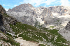 Mountain Einserkofel panorama and footpath, Sexten Dolomites, South Tyrol Royalty Free Stock Photography