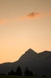 Mountain Einstein with orange sky of a sunset Royalty Free Stock Photo