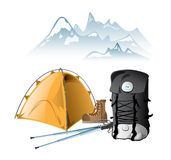 Mountain equipment. Rucksack, tent, walking poles, boot Royalty Free Stock Images