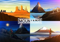Mountain everest, matterhorn, Fuji with tourist, Monument Valley, morning panoramic view, peaks and landscape. Outdoor. Hill tops. Design for poster or Royalty Free Stock Photo