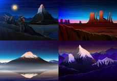 Mountain everest, matterhorn, Fuji with tourist, Monument Valley, night panoramic view, peaks, landscape early in. Daylight. travel or camping, climbing, set Stock Photography