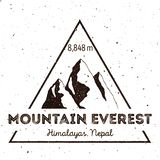 Mountain Everest outdoor adventure insignia. Climbing, trekking, hiking, mountaineering and other extreme activities logo template. Artistic watercolor vector stock illustration