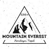Mountain Everest outdoor adventure insignia. Climbing, trekking, hiking, mountaineering and other extreme activities logo template. Amazing watercolor vector stock illustration