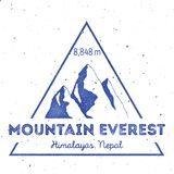 Mountain Everest outdoor adventure insignia. Climbing, trekking, hiking, mountaineering and other extreme activities logo template. Amusing watercolor vector vector illustration