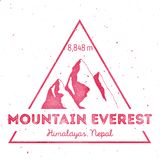 Mountain Everest outdoor adventure insignia. Climbing, trekking, hiking, mountaineering and other extreme activities logo template. Appealing watercolor vector vector illustration