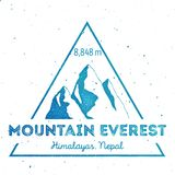 Mountain Everest outdoor adventure insignia. Climbing, trekking, hiking, mountaineering and other extreme activities logo template. Astonishing watercolor stock illustration