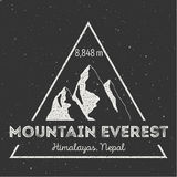 Mountain Everest outdoor adventure insignia. Climbing, trekking, hiking, mountaineering and other extreme activities logo template stock illustration