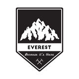 Mountain Everest outdoor adventure insignia. Climbing, trekking, hiking, mountaineering and other extreme activities logo template Stock Images