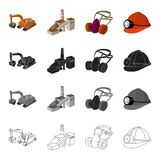 Mountain excavator, mine building, protective respirator, helmet miner. Mining industry set collection icons in cartoon stock illustration