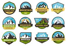 Mountain expedition emblems. Outdoors travel labels, mountains hiking sticker emblem and summer camping badges vector. Mountain expedition emblems. Outdoors vector illustration