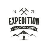 Mountain expedition label with climbing symbols and type design - mountain climb. Vintage letterpress style. Outdoor. Activity emblem for t-shirt, mug, clothing Royalty Free Stock Images
