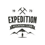 Mountain expedition label with climbing symbols and type design - mountain climb. Vintage letterpress style. Outdoor. Activity emblem for t-shirt, mug, clothing Stock Photo