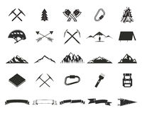 Mountain expedition silhouett icons set. Climb and camping shapes collection. Simple black pictograms. Use for creating. Logo, labels and other adventure Royalty Free Stock Images