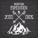 Mountain expedition vintage label retro badge. Hand drawn textured emblem outdoor hiking adventure and mountains exploring, Extrem Stock Images