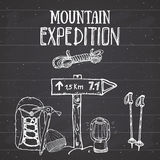 Mountain expedition vintage set. Hand drawn sketch elements for retro badge emblem, outdoor hiking adventure and mountains explori Royalty Free Stock Photography