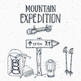 Mountain expedition vintage set. Hand drawn sketch elements for retro badge emblem, outdoor hiking adventure and mountains explori. Ng label design, Extreme Stock Image