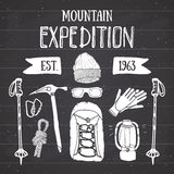 Mountain expedition vintage set. Hand drawn sketch elements for retro badge emblem, outdoor hiking adventure and mountains  Stock Photography