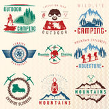 Mountain Expeditions Colorful Emblems Stock Photos