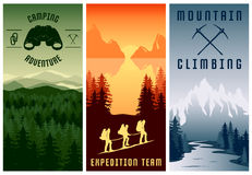 Mountain Expeditions Vertical Banners Set Royalty Free Stock Photo