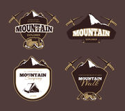 Mountain exploration retro vector emblems, labels, badges, logos set. Mountain emblem, label mountain exploration, badge vintage mountain exploration royalty free illustration