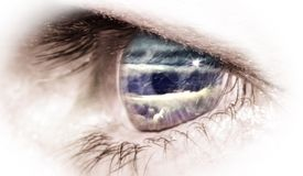 Mountain in Eye. Close up of an eye with reflection of a cloudy mountain in lens vector illustration