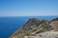 Mountain facing the sea royalty free stock photography