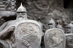 Mountain of the fairy tales. Fairytale characters of the sculptural composition Stock Photos