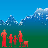 Mountain Family Travel Flyer Royalty Free Stock Photo