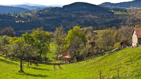 Mountain farm and landscape at autumn sunny day, Radocelo mountain Stock Photo