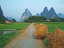 Mountain and farmland royalty free stock photo
