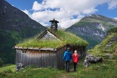 Mountain farms along the Geirangerfjorden fjord Royalty Free Stock Images