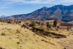 Mountain Farms with Basotho Huts in Lesotho Royalty Free Stock Images