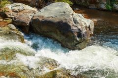 Mountain fast flowing river stream of water in the rocks.  Royalty Free Stock Photo